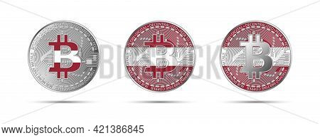 Three Bitcoin Crypto Coins With The Flag Of Latvia. Money Of The Future. Modern Cryptocurrency Vecto