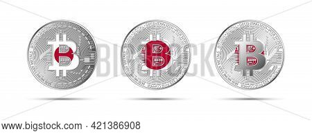 Three Bitcoin Crypto Coins With The Flag Of Japan. Money Of The Future. Modern Cryptocurrency Vector