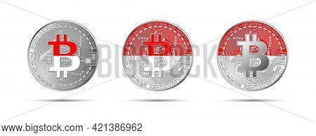 Three Bitcoin Crypto Coins With The Flag Of Indonesia. Money Of The Future. Modern Cryptocurrency Ve