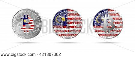 Three Bitcoin Crypto Coins With The Flag Of Malaysia. Money Of The Future. Modern Cryptocurrency Vec