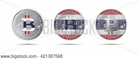 Three Bitcoin Crypto Coins With The Flag Of Thailand. Money Of The Future. Modern Cryptocurrency Vec