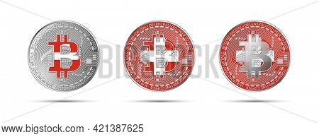Three Bitcoin Crypto Coins With The Flag Of Switzerland. Money Of The Future. Modern Cryptocurrency