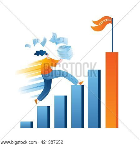 A Woman With Office Papers Runs Up The Career Ladder To Success. The Concept Of A Vector Illustratio