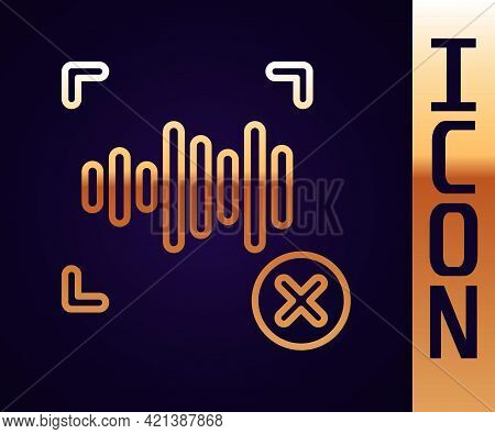 Gold Line Rejection Voice Recognition Icon Isolated On Black Background. Voice Biometric Access Auth