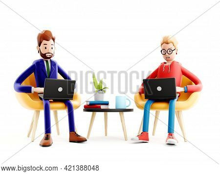 Cartoon Characters With A Laptops. Concept Of Distance Work, Study And Communication. Coworking Spac