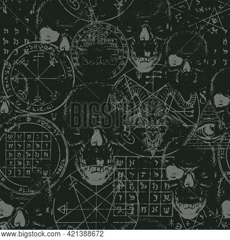 Abstract Gothic Seamless Pattern With Goat Head, Human Skulls, Occult And Ritual Symbols On A Black