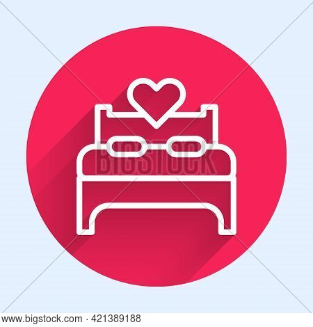 White Line Bedroom Icon Isolated With Long Shadow. Wedding, Love, Marriage Symbol. Bedroom Creative