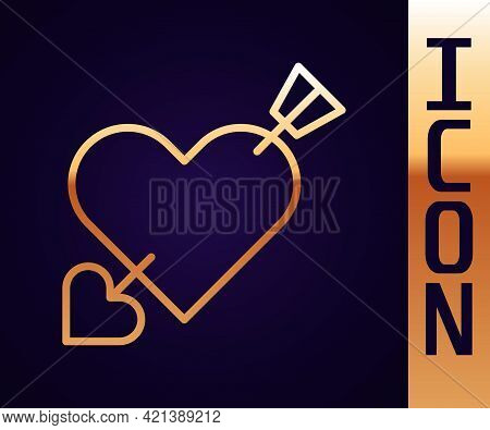 Gold Line Amour Symbol With Heart And Arrow Icon Isolated On Black Background. Love Sign. Valentines