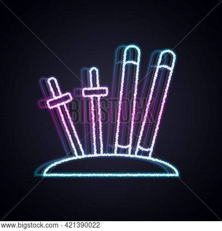 Glowing Neon Line Ski And Sticks Icon Isolated On Black Background. Extreme Sport. Skiing Equipment.