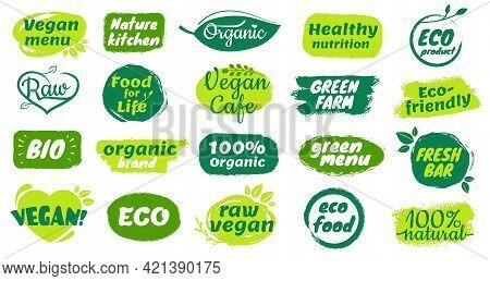 Organic Food Label. Natural Organic Product Badges, Raw Vegan Menu Logos, Fresh Bar Labels. Hand Dra