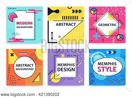Memphis Card. Funky Abstract Poster With Geometric Shapes, Textures, Graphic Elements. Retro 90s Pop