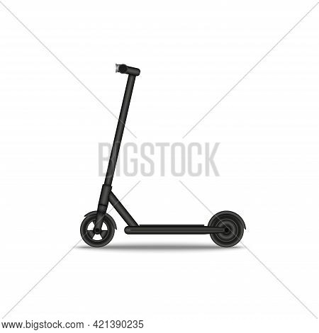 Black Realistic Electric Scooter 3d Vector Template Side View Isolated On White Background, Modern U