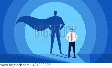 Businessman With Superhero Shadow. Successful And Strong Leader. Business Success, Confident Leaders