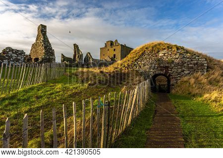 Stonehaven, Aberdeenshire, Scotland, Uk - 04 February 2016: View Of The Ruins Courtyard Of The 13th
