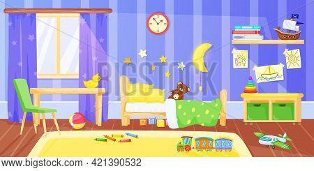 Kids Bedroom. Cartoon Preschool Child Bedroom Interior With Furniture And Toys. Children Room, Nurse