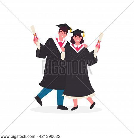 Happy Graduated Students Wearing Academic Gown Hold Diplomas In Their Hands. The Guy And The Girl Gr
