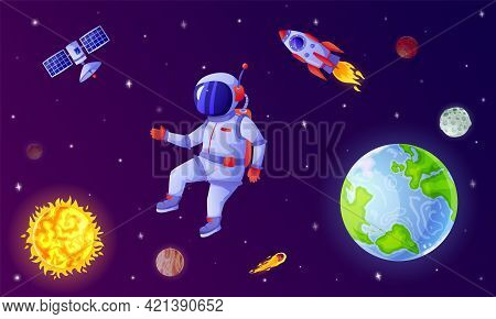 Astronaut In Space. Cosmonaut Flying In Outer Space With Rocket, Satellite, Planets, Stars. Astronau