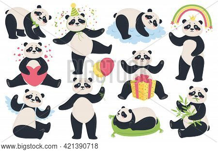 Cute Panda. Cartoon Funny Pandas Eating Bamboo, Sleeping, Sitting, Holding Balloons. Happy Asian Bea