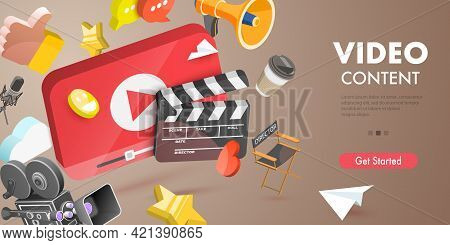 3d Vector Conceptual Illustration Of Video Content Creating, Digital Video Advertising And Media Mar