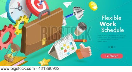 3d Isometric Flat Vector Conceptual Illustration Of Flexible Work Schedule, Part-time Job