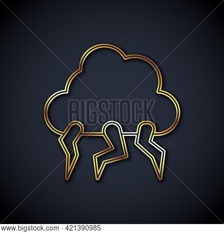 Gold Line Storm Icon Isolated On Black Background. Cloud And Lightning Sign. Weather Icon Of Storm.