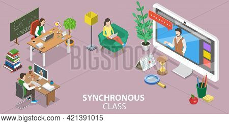 3d Isometric Flat Vector Conceptual Illustration Of Synchronous Virtual Learning, Online Education