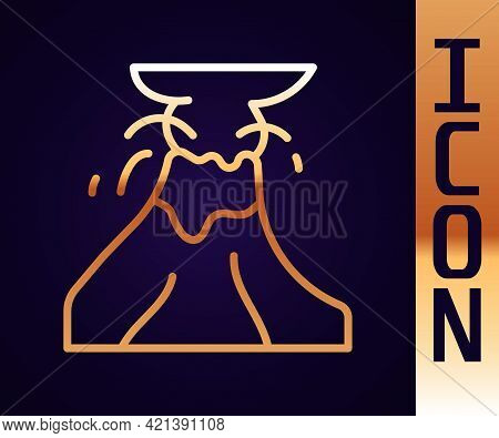 Gold Line Volcano Eruption With Lava Icon Isolated On Black Background. Vector