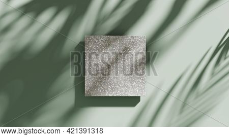 3d Background, Stone Display Flat Lay Podium On Natural Pastel Green Backdrop And Palm Shadow. Produ