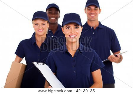 group of delivery service staff half length on white