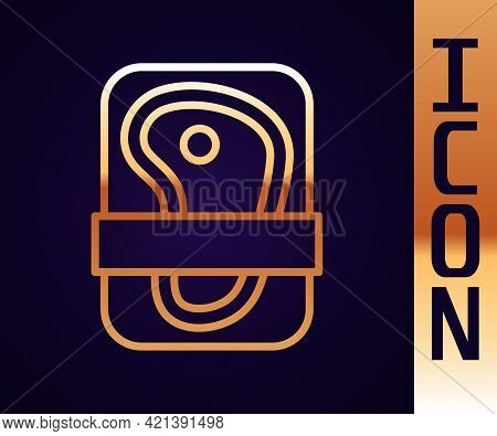 Gold Line Meat Packaging Steak Icon Isolated On Black Background. Fresh Meat Beef Steak In Plastic P