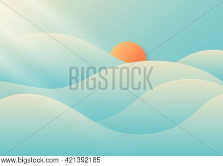 Summer Cloudy And Foggy With Sunlight On Blue Sky Background Nature Minimal Concept. Vector Illustra