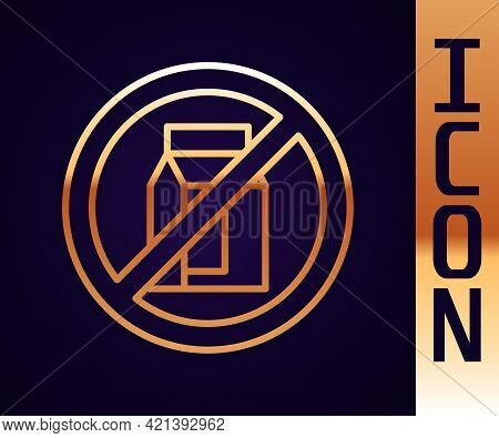 Gold Line No Pack Of Milk Icon Isolated Gold Line Background. Not Allow Milk. Allergy Concept, Lacto