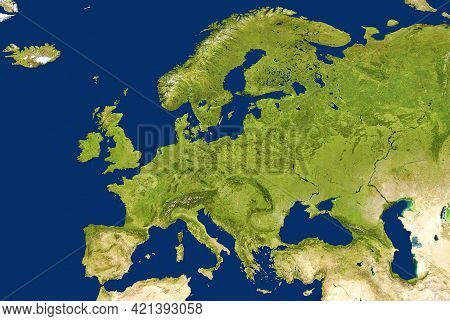 Europe Map In Global Satellite Photo, Flat View Of European Part Of World From Space. Detailed Physi