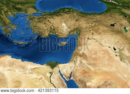 Middle East Map In Global Satellite Photo, Flat View Of Part Of World From Space. Detailed Physical