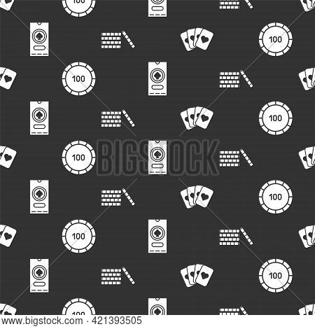 Set Deck Of Playing Cards, Casino Chips, Casino Poker Tournament Invitation And Casino Chips On Seam