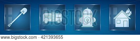 Set Fire Shovel, Fire Truck, Fire Hydrant And Fire In Burning House. Square Glass Panels. Vector