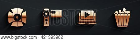 Set Movie Spotlight, Cinema Camera, Online Play Video And Popcorn In Box Icon With Long Shadow. Vect