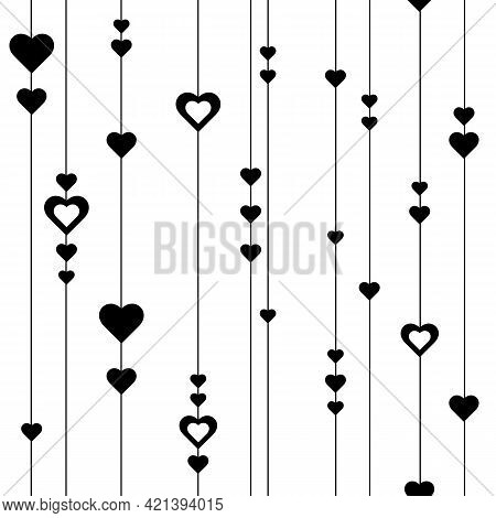 Seamless Pattern Of Lines And Hearts. Cute Romantic Print With Black Hearts Hanging On Lines, On Str