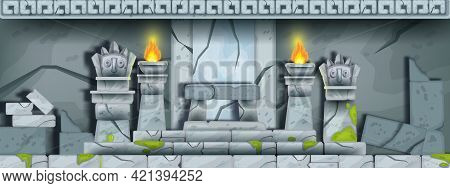 Ancient Stone Temple Ruin, Vector Cartoon Maya Tomb Interior Background, History Game Illustration.
