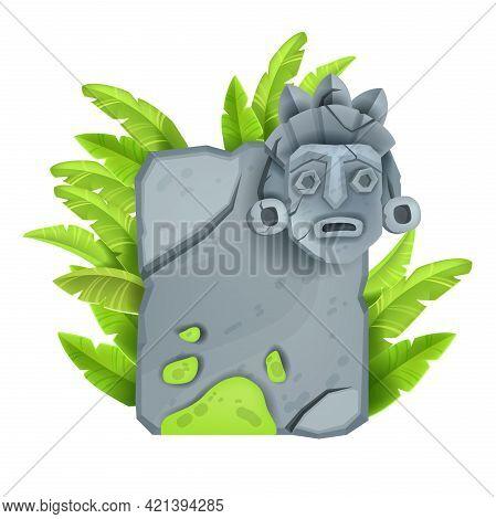 Stone Sign Board, Vector Game Rock Granite Frame, Cracked Maya Totem Face, Tribal Tiki Mask, Banana