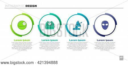 Set Death Star, Astronomical Observatory, Satellite Dish And Alien. Business Infographic Template. V