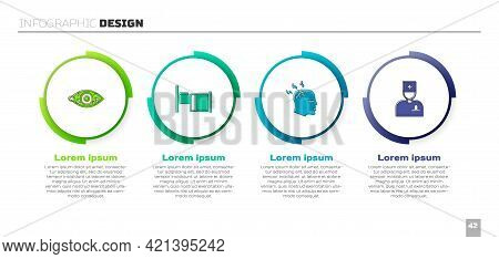 Set Reddish Eye, Hospital Bed, Man Having Headache And Male Doctor. Business Infographic Template. V