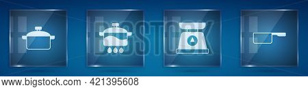 Set Cooking Pot, , Scales And Saucepan. Square Glass Panels. Vector