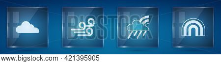 Set Cloud, Windy Weather, Rainbow With Cloud And Rain And . Square Glass Panels. Vector