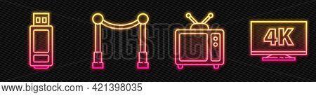 Set Line Retro Tv, Usb Flash Drive, Carpet With Barriers And Screen Tv With 4k. Glowing Neon Icon. V