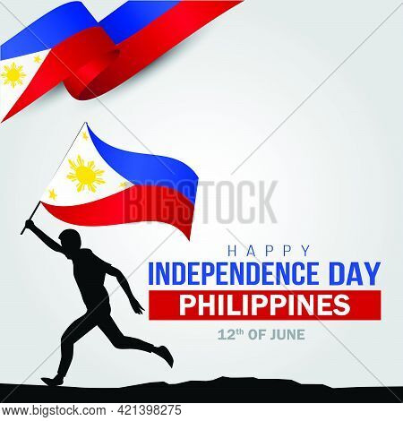 Happy Independence Day Philippines. Hands Holding With Philippine Flag. Vector Illustration Design