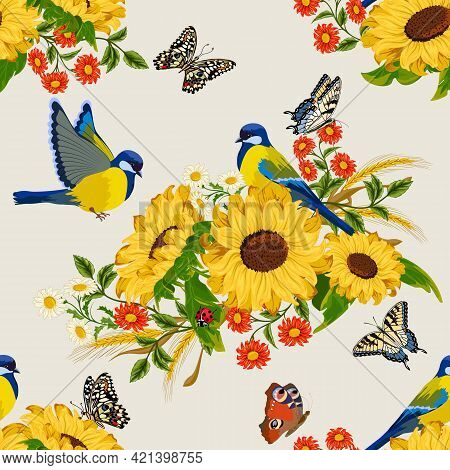 Pattern With Sunflowers And Birds.birds And Bouquets Of Flowers With Sunflowers On A Colored Backgro