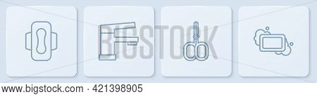 Set Line Sanitary Napkin, Nail Scissors, Water Tap And Bar Of Soap. White Square Button. Vector