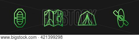 Set Line Tourist Tent, Rafting Boat, Location Of The Forest On Map And Kayak Canoe. Gradient Color I