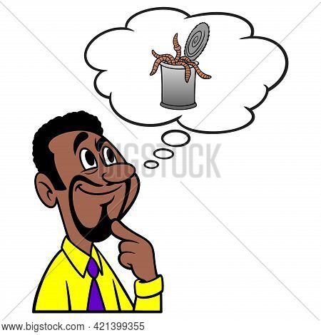 Man Thinking About A Can Of Worms - A Cartoon Illustration Of A Man Thinking About A Can Of Worms.